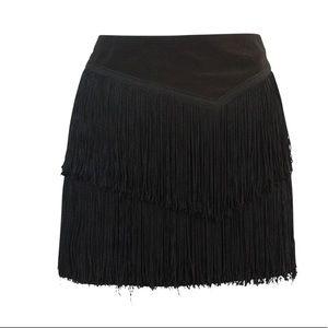 Nanette Lenore black fringe mini skirt